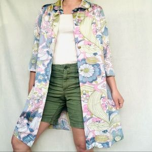 VTG 60s Psychedelic Groovy Pastel Duster Gown